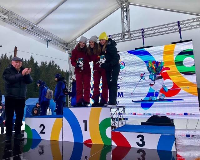 Monika Skinder na najniższym stopniu podium w stolicy Bośni i Hercegowiny Sarajewie