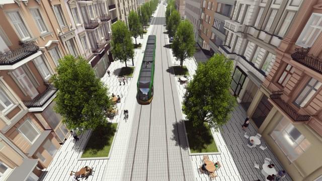 Wizualizacja przedstawiająca trasę tramwajową w ulicy Ratajczaka w Poznaniu. Jest to obraz poglądowy. Mariusz Wiśniewski, zastępca prezydenta mówi, że ruch samochodów na tej ulicy zostanie uspokojony, ale nadal będzie utrzymany. Ulica pozostanie jednokierunkową - ruch w kierunku południowym (w stronę Wildy).