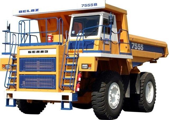 Tak wygląda wywrotka kopalniana Biełaz 7555E o ładowności 60 ton. Już we wtorek, 8 maja będzie ja można oglądać na wystawie w Targach Kielce. (archiwum)