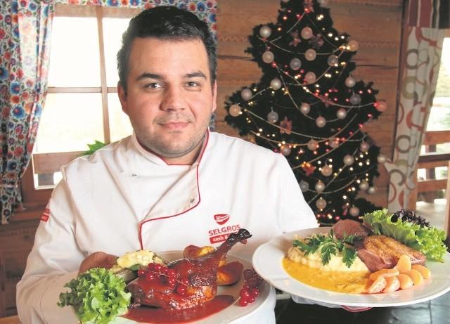- Z gęsią i kaczką możemy nieco pokombinować - podać je z warzywnymi puree i owocowymi sosami - mówi Adrian Ćwikła, szef kuchni w Korbowej Kolibie w Sukowie koło Kielc.