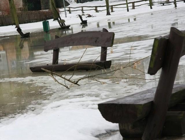 Jezioro zalało tereny rekreacyjne w parku Oscara Tietza