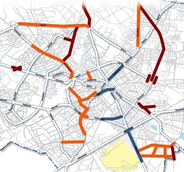 Kolor niebieski - inwestycje kontynuowane. Kolor pomarańczowy - inwestycje planowane do rozpoczęcia w I półroczu 2009. Kolor bordowy - inwestycje planowane do rozpoczęcia w II półroczu 2009.