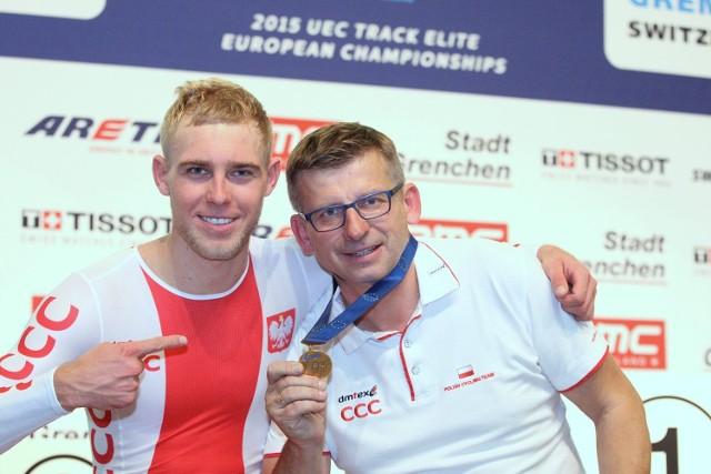 Adrian Tekliński i jego trener.