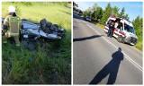 Ryżówka. Wypadek na DW 653. Kierowca trafił do szpitala po dachowaniu (zdjęcia)