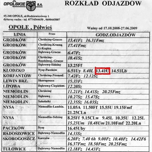 Autobus linii Opole - Grodków powinien zatrzymać się o godz. 13.41 na Półwsi w Opolu.