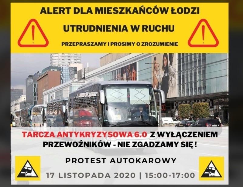 Uwaga! Dziś po godz. 15 protest przewoźników autokarowych w Łodzi. Autokary zablokują Trasę W-Z? Mogą być gigantyczne korki!