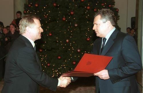 Andrzej Śmietanko i Aleksander Kwaśniewski w 2000 roku