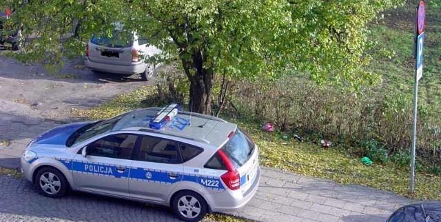 Radiowóz zaparkował dwa metry od znaku zakazu zatrzymywania się
