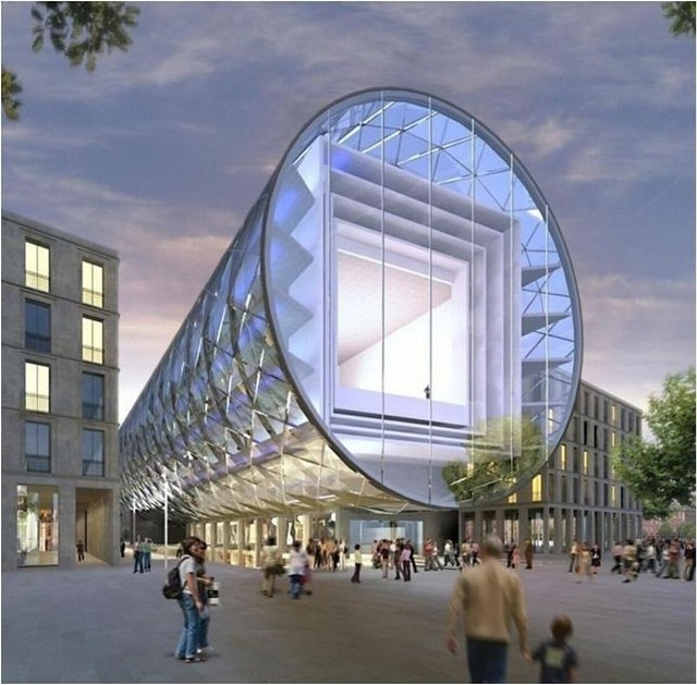 """Projekt Specjalnej Strefy Sztuki, czyli budynku w kształcie szklanej tuby powstał w 2008 r. miał być """"łódzką wieża Eiffel'a"""" i """"leżeć"""" w miejscu dworca Łódź Fabryczna."""