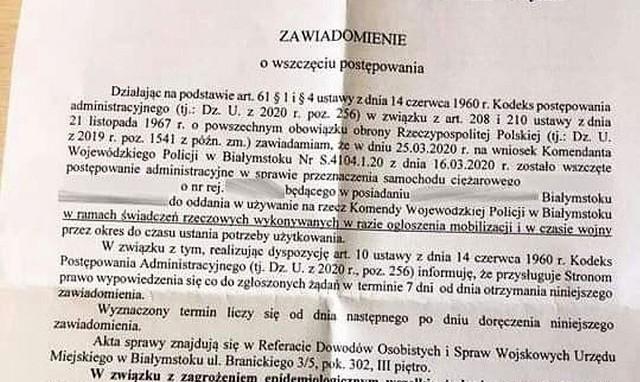 Obowiązek świadczeń rzeczowych na rzecz obrony Rzeczpospolitej Polskiej jest nakładany decyzją administracyjną od 1994 roku. W samym Białymstoku na wniosek różnych instytucji rocznie prowadzonych jest 500 postępowań ws. przekazania posiadanych nieruchomości lub rzeczy ruchomych.