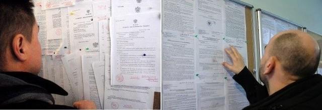 Tablica wyroków przed naszą interwencją i po niej.