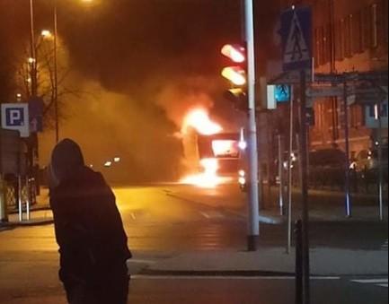 Pożar autobusu w Bytomiu