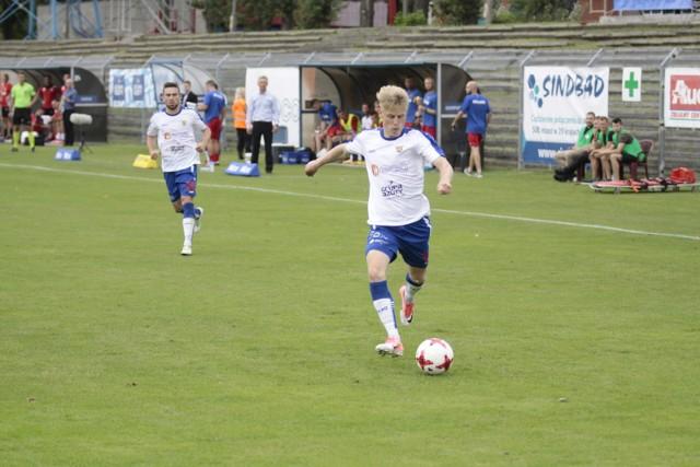 Pomocnik Odry Mateusz Marzec gra w 1 lidze bez kompleksów.