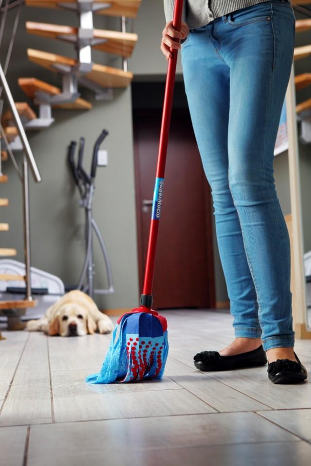 Zmywanie podłogi mopemJak usuwać w mieszkaniu sierść, gdy mamy psa lub kota