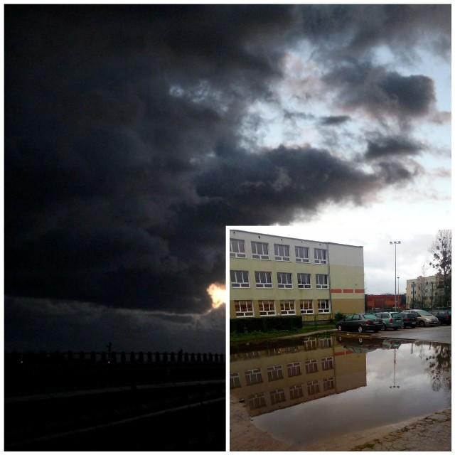 Czarne chmury nadciągnęły wczoraj także nad nasz region. Po intensywnych opadach deszczu utworzyły się wielkie kałuże m.in. przed Szkołą Podstawową nr 11 w Toruniu