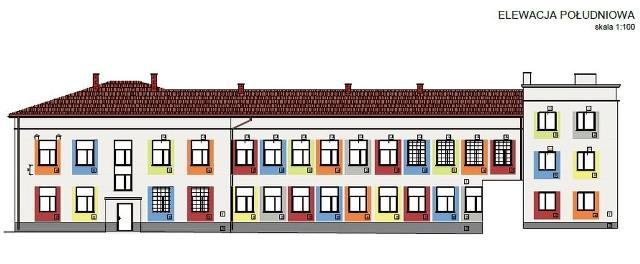 Szkoła podstawowa w Starej Błotnicy będzie ocieplona, będzie też ułożona nowa, kolorowa elewacja. Tak ma wyglądać wedlug projektantów.