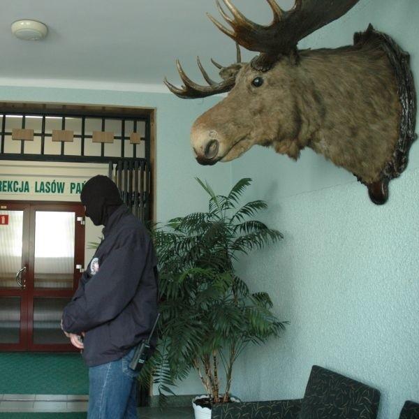 Agent CBA w białostockiej siedzibie Regionalnej Dyrekcji Lasów Państwowych. Według dyrektora, jego zatrzymanie nie było potrzebne, mógł w każdej chwili złożyć zeznania w prokuraturze