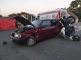 Wypadek w Czaplinku. Motocykl zderzył się ze skodą [ZDJĘCIA]