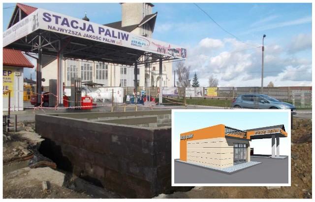 Nowy pawilon handlowy stacji powstaje w miejscu starego nieczynnego kanału myjni autobusowej. Na razie gotowe są fundamenty. Budynek ma być oddany przed końcem roku.