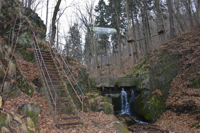 Potok Trująca przepływa przez teren nieczynnych dla wydobycia kopalni w  Złotym Stoku