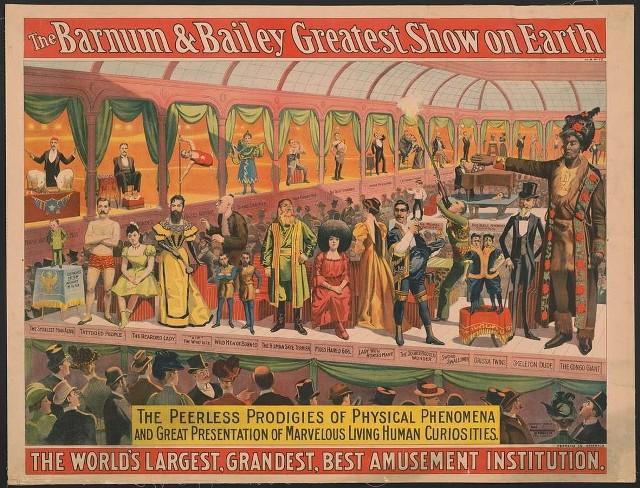 Reklama europejskiego tournee cyrku Barnuma i Baileya, który 120 lat temu w Toruniu utknął w piaskach, ale później wystąpił w Olsztynie
