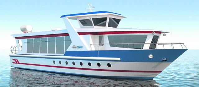 Koncepcja małego statku pasażerskiego, mogącego pływać po wodach Pętli Żuławskiej, w tym Zalewu Wiślanego