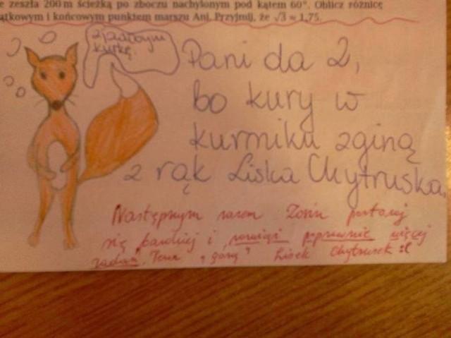 Trudno uwierzyć, co na klasówkach potrafią pisać (i nie tylko!) polscy uczniowie. Oglądając te sprawdziany, uśmiejecie się do łez, zwłaszcza że poczucia humoru często nie brakuje też nauczycielom. Oto hity ze szkolnych klasówek!Kliknij tutaj i przejdź do kolejnego zdjęcia --->