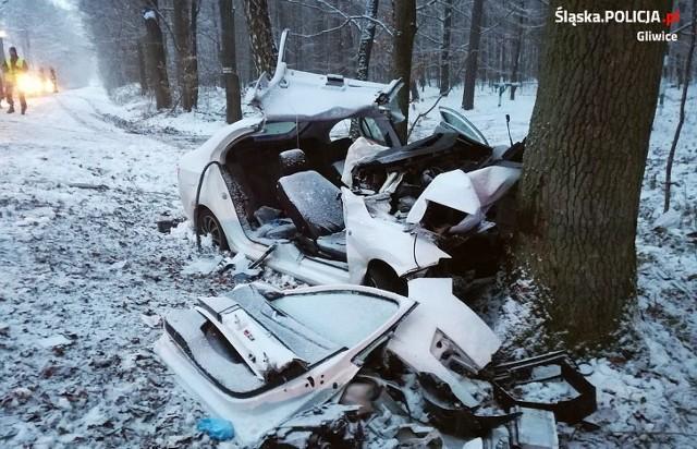 Tak wyglądała skoda po wypadku.