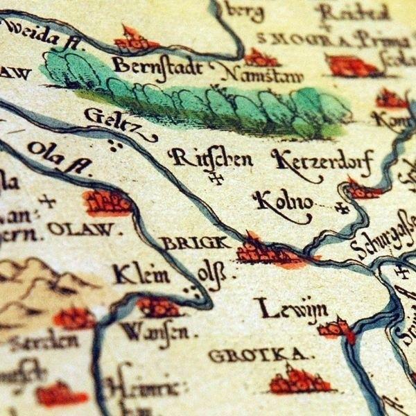 Mapę opracował pionier śląskiej kartografii Martin Helwig.