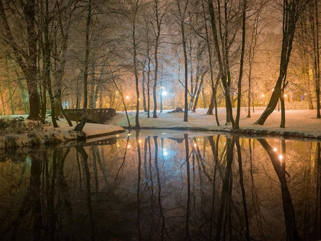 Zimowy Poznań nocą
