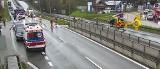 Wypadek na zakopiance w Libertowie. Potrącony został pieszy, lądował helikopter 04 11