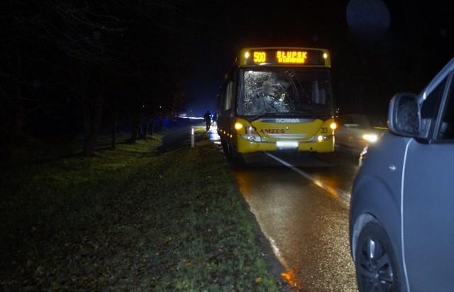 51-letni kierowca autobusu jadąc w kierunku Słupska potrącił pieszego, poruszającego się w tym samym kierunku. Pieszy prawdopodobnie wtargnął pod autobus.Policja przebadała kierującego autobusem na obecność alkoholu w wydychanym powietrzu. Był trzeźwy. Jak się wstępnie dowiedzieliśmy, pieszy w stanie ciężkim został przewieziony do słupskiego szpitala.