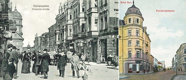 """Większość abonentów stacji aparatów telefonicznych mieszkała bądź miała swoje firmy przy głównych ulicach miasta, tu (po lewej): widok ulicy Fryderykowskiej (Królowej Jadwigi) z około 1905 r. Po prawej: hotel """"Bast"""", którym w 1907 r. zarządzał Hermann Misch, a telefonujący tam wybierali numer 17."""