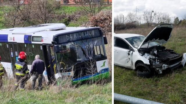 Pętla Turkusowa w Szczecinie. Autobus wypadł z drogi