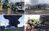 Pożar na stacji demontażu pojazdów w Stobnie. Eksplozje, duże zadymienie, silny wiatr. Podsumowanie akcji strażaków. ZDJĘCIA