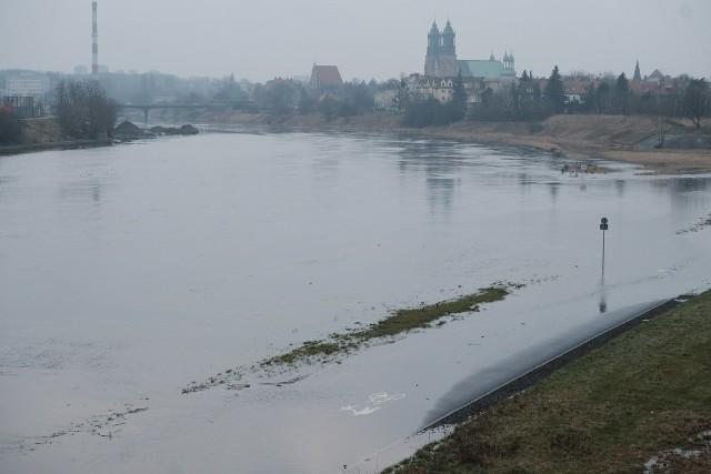 Wysoki poziom Warty i Cybiny w Poznaniu. Wartostrada zalana