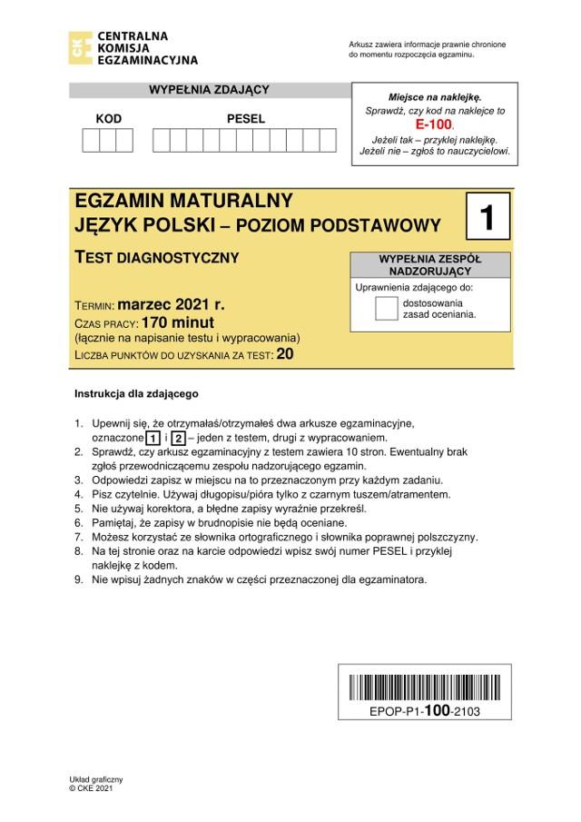 Matura próbna 2021 CKE - j. polski podstawowy [ARKUSZ, ODPOWIEDZI] 3.03.21