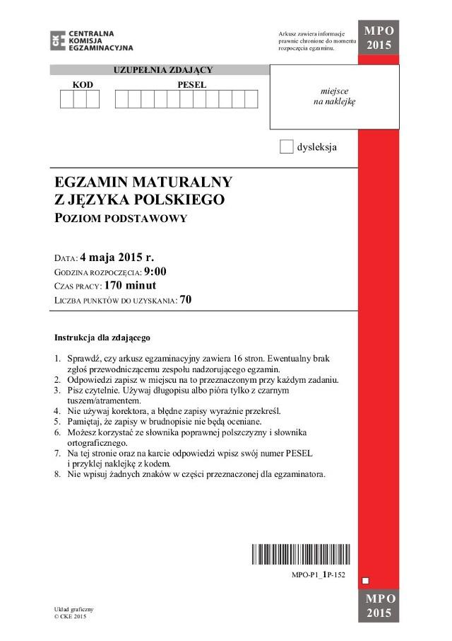 Matura 2015 język polski, poziom podstawowy liceum