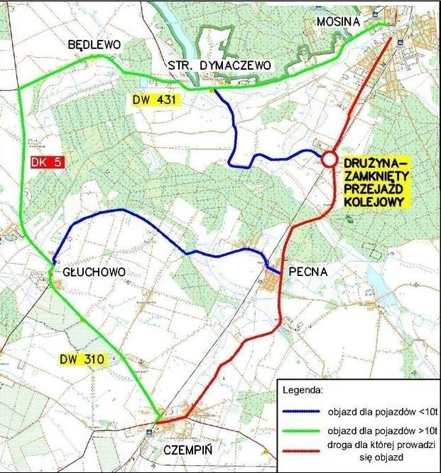 W nocy z wtorku na środę zamknięty będzie przejazd kolejowy w Drużynie koło Mosiny.