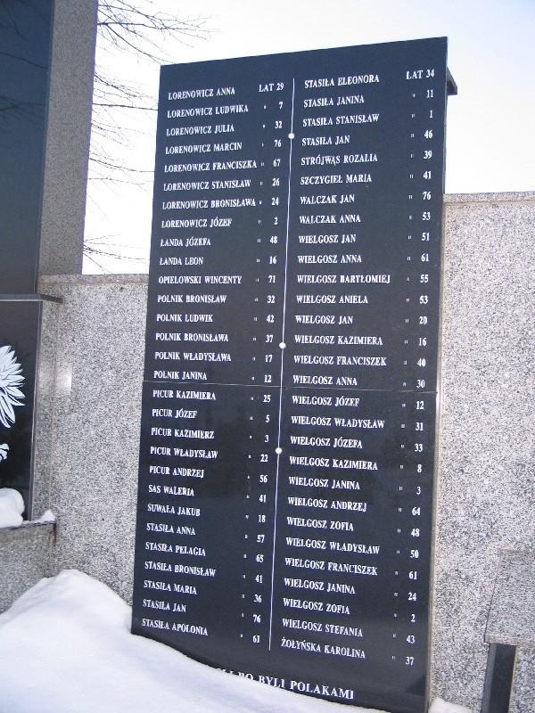Tablice z zamordowanymi mieszkańcami Kaszyc.