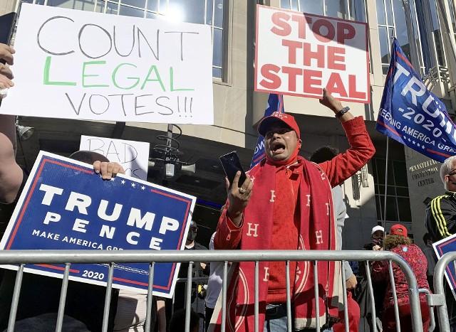 Powyborcze protesty zwolenników Trumpa w stanie Pensylwania
