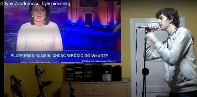 Paweł Kieler wyśpiewał paski Wiadomości