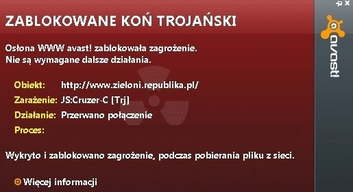 Komunikat jednego z popularnych programów antywirusowych informuje, że strona www.zieloni.republika.pl jest zainfekowana