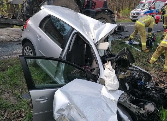 Na trasie z Grodziska Wielkopolskiego w kierunku Kamieńca, na wysokości miejscowość Ujazd, samochód osobowy zderzył się czołowo z ciągnikiem rolniczym.