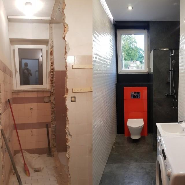 W ciągu trzech tygodni pomieszczenie zmieniło się nie do poznania. W łazience nie zabrakło potrzebnych sprzętów: pralki i suszarki do ubrań oraz prysznica.