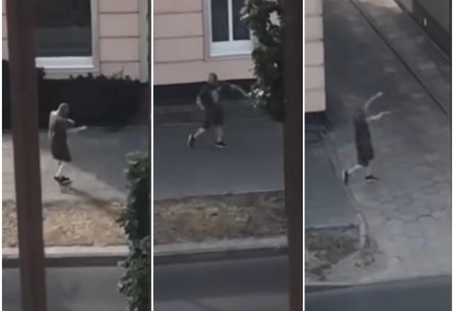 Ktoś nagrał mężczyznę w Świnoujściu, który zażył narkotyk flakka zombie.