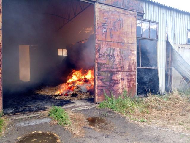 Pożar w magazynie pasz w Uszycach.