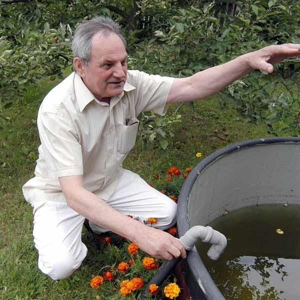 Estetyczne pojemniki ustawione obok rynien nie muszą szpecić otoczenia. Deszczówkę można gromadzić nawet w ogrodowym baseniku. Można je zamaskować, sadząc obok ozdobne rośliny.