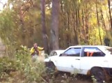 Czołowe zderzenie z drzewem, fotograf miał szczęście (wideo)