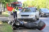 Wypadek na Brücknera. Taksówka zderzyła się z motocyklem